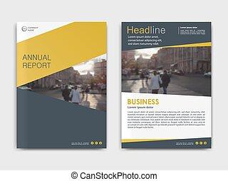 folletos, anual, cubierta, diseño, plantilla, informe