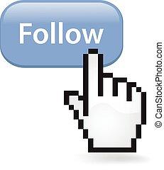 Follow Button - Follow button with a cursor hand.