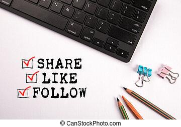 follow., concept, zoals, sociaal, media, aandeel