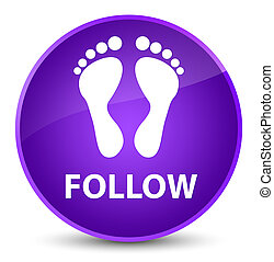 Follow (footprint icon) elegant purple round button