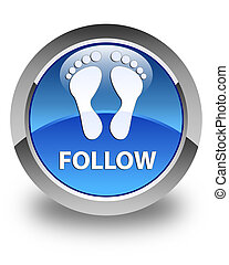 Follow (footprint icon) glossy blue round button