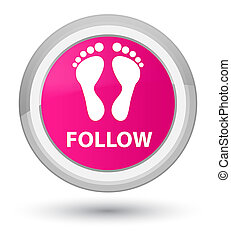 Follow (footprint icon) prime pink round button