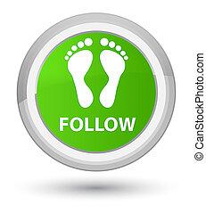 Follow (footprint icon) prime soft green round button