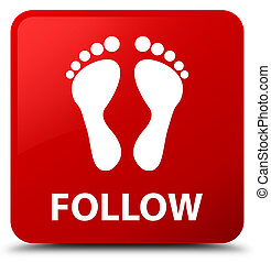 Follow (footprint icon) red square button