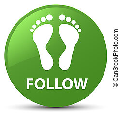 Follow (footprint icon) soft green round button
