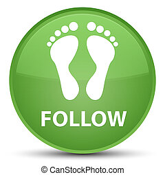 Follow (footprint icon) special soft green round button