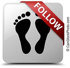 Follow (footprint icon) white square button red ribbon in corner