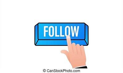 Follow. Hand click icon. Finger click icon. Stock illustration