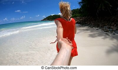 Follow love at Seychelles - SLOW MOTION Follow me.Young...
