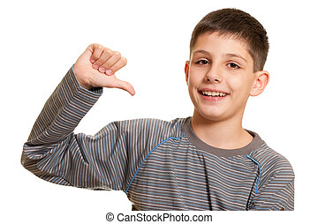 Follow me! - A boy is pointing at himself; isolated on the...