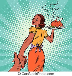 follow me African-American housewife with roast Turkey