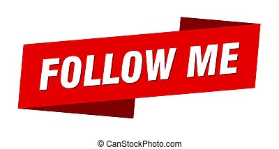 follow me banner template. ribbon label sign. sticker