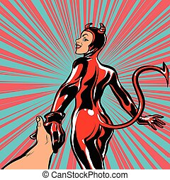 follow me, girl devil demon temptation, pop art retro comic...