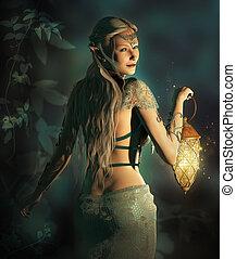 Follow me into the Woodland Realm - an elf princess lights...