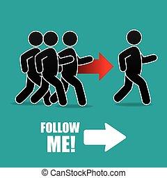 Follow me social and business theme design, vector...