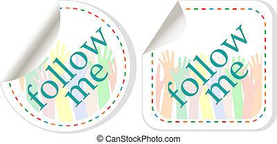 follow me stickers label set