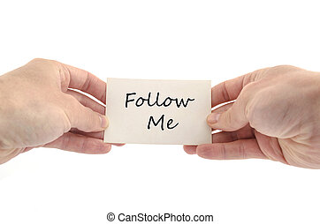 Follow me text concept isolated over white background