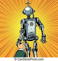 Follow me, the robot leads us forward pop art retro vector. Artificial intelligence civilization, technological revolution. Autopilot