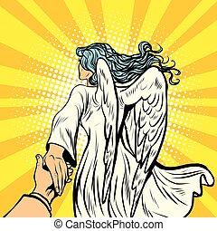 follow me, woman angel with wings. pop art retro comic book...