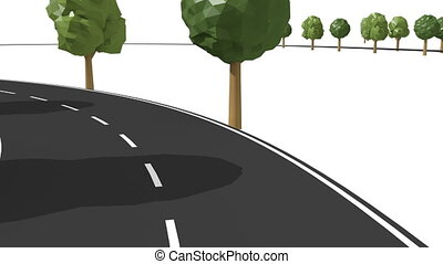 Follow road with trees traffic symbols. - Isolated road with...