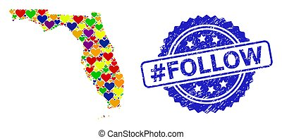 Blue rosette scratched seal imprint with #Follow text. Vector mosaic LGBT map of Florida State with hearts. Map of Florida State collage created with lovely hearts in colorful color tones.