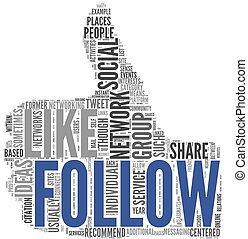 Follow symbol in tag cloud on white - Follow as social ...