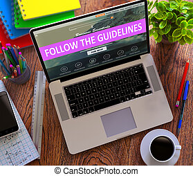 Follow the Guidelines Concept on Modern Laptop Screen.