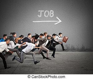 Follow the job arrow - Group of people run together towards...