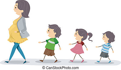 Follow the Leader - Illustration of a Pregnant Mom Being...