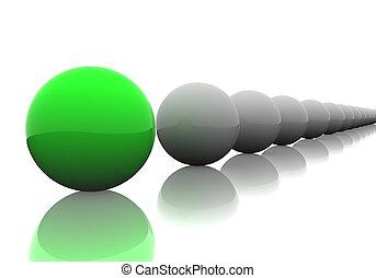Follow the leader. 3D render of spheres.