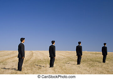 Follow the path to the future - businessmens follow a path...