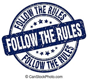 follow the rules blue grunge stamp