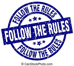 follow the rules blue round grunge stamp