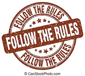 follow the rules brown grunge stamp