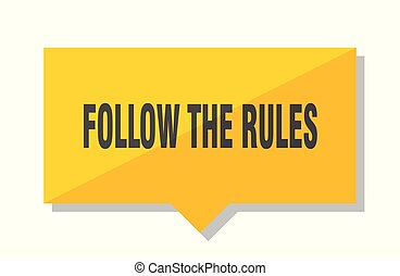 follow the rules yellow square price tag