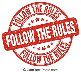 follow the rules red grunge stamp