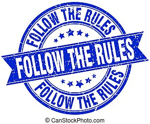 follow the rules round grunge ribbon stamp