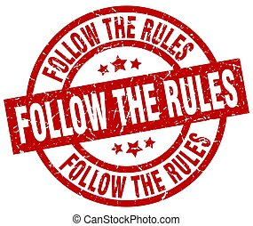 follow the rules round red grunge stamp