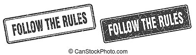 follow the rules stamp set. follow the rules square grunge sign