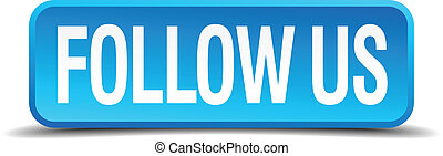 follow us blue 3d realistic square isolated button