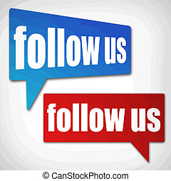 Follow us blue and red speech bubbles