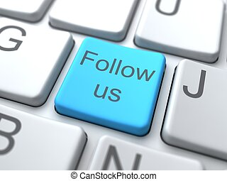 Follow us-Blue Button on Keyboard. Social Media Concept.