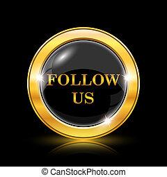 Follow us icon - Golden shiny icon on black background - ...