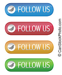 Follow us web buttons isolated over a white background
