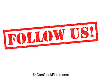 FOLLOW US! red Rubber Stamp over a white background.