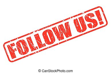 Follow us red stamp text