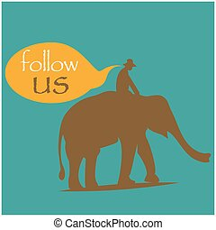 Follow us with people ride elephant. Flat design. Vector Illustration on turquoise background.