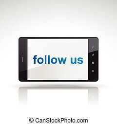 follow us words on mobile phone