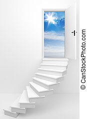 Follow Your Dreams - 3d render of an opened door to a dream...