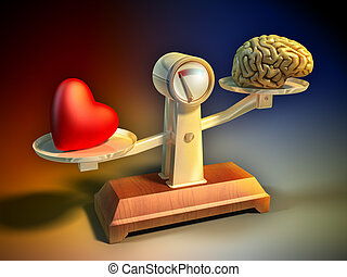 Follow your heart - Heart and brain on a balance scale....